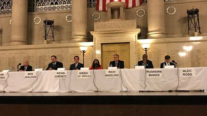 The Democratic candidates for governor in Maryland participated in a forum Saturday at the War Memorial in Baltimore. From left, Jim Shea, Ben Jealous, Kevin Kamenetz, Krish Vignarajah, state Sen. Richard S. Madaleno Jr., Rushern Baker and Alec Ross.