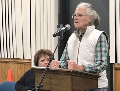 Jarrettsville resident Carol Nau was one of four people who addressed the Harford County Council on Tuesday regarding the planned Abingdon Business Park warehouse project. Nau and her cohorts urged council members to take action to preserve the wooded site.