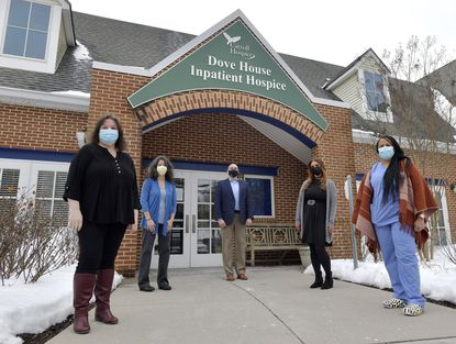 Carroll Hospice is recognizing some of its Hospice Heroes this year, from left, Bereavement and Volunteer Services Secretary Betty McGuire, Home Team Social Worker Kelly Yudt, Chair of the Carroll Hospice Dove House Expansion Committee Mark Blacksten, Clinical Mentor Lindsay Sisler, R.N., and Facilty Based Hospice Aide Malika Acker. A sixth Hospice Hero, Melissa Bonbrest, is not pictured.