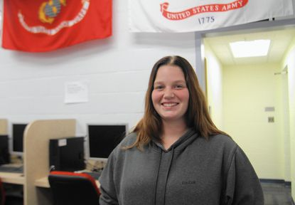 Amy Brace, 23, a 5-year veteran of the U.S. Army, is shown in the Veterans Services Center on the Catonsville campus of the Community College of Baltimore County where she works part-time while working on an associate's degree.