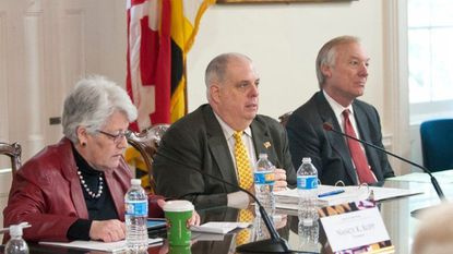 State Treasurer Nancy Kopp, Governor Larry Hogan, and Comptroller Peter Franchot are the three members of the the Maryland Board of Public Works.