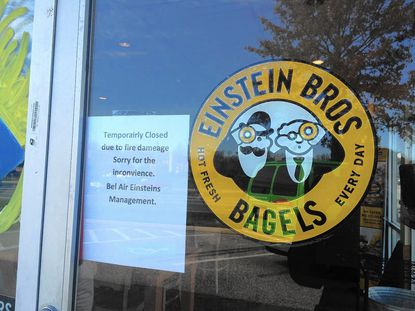 Einstein Bros Bagels in Bel Air was closed Monday after a mulch fire outside the restaurant Sunday.