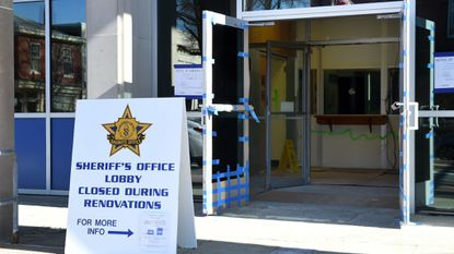 The front lobby of the Harford County Sheriff's Office headquarters on Main Street in Bel Air will be closed for about six weeks while renovations begin of the first floor and basement. The work is the second phase of an overhaul of the building that was last renovated in 1963.