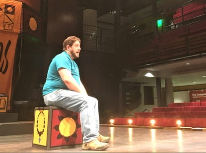 """David M. Hanauer, a Towson resident who served in the first Persian Gulf War and later in Kosovo. rehearses for his piece in next weekend's performance of """"The Sharing."""""""