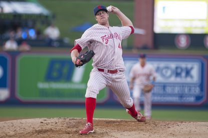 Adam Loewen, a former Orioles left-hander, pitches for the Reading Fightin Phils earlier this season. After switching from pitcher to outfielder, Loewen has returned to the mound.
