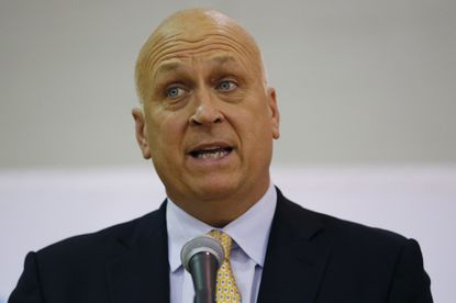 Hall of Famer Cal Ripken Jr. speaks at a press conference talking about his Cal Ripken, Sr. Foundation at St. Anthony High School, Jan. 15 in Jersey City, N.J.