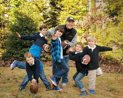 Former Maryland quarterback Alan Pastrana with grandchildren (left to right) Mac Brabazon, J.J. Brabazon, Zack Overend, Luke Brabazon and Chase Overend.