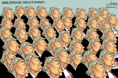 Republican profiles in sycophancy. (David Horsey/Tribune Content Agency).