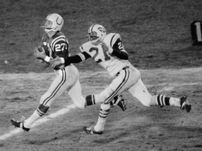Baltimore Colts receiver Ray Perkins is seen here after making a catch against the New York Jets in 1971.