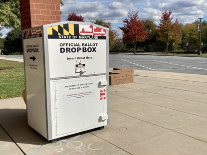A ballot drop box sits outside Marriotts Ridge High School on Sunday, Oct. 18. The high school in Marriottsville is the farthest west option Howard early voters will have in person this year and is 10 to 15 miles away from many of the county's westernmost voters.