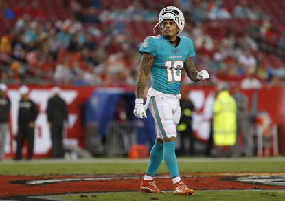 Miami Dolphins wide receiver Kenny Stills (10) against the Tampa Bay Buccaneers during the first half of an NFL preseason football game Friday, Aug. 16, 2019, in Tampa, Fla. (AP Photo/Mark LoMoglio)