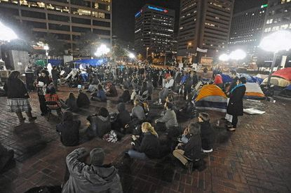 Occupy Baltimore protesters at McKeldin Square