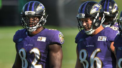 Tight ends #82 Benjamin Watson and #86 Nick Boyle at Ravens practice.