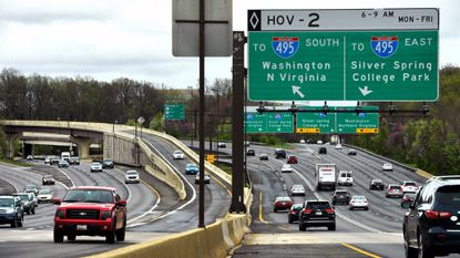 Traffic flows along interchanges that link the Capital Beltway and I-270.