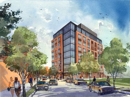 Rendering of an 8-story office building proposed by Caves Valley Partners for its Stadium Square project in South Baltimore.