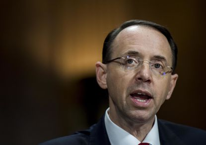 Nominee for deputy attorney general, Rod Rosenstein, seen here Tuesday before the Senate Judiciary Committee on Capitol Hill, was grilled about whether he'd support appointing special counsel to probe claims of Russian meddling in the U.S. election.
