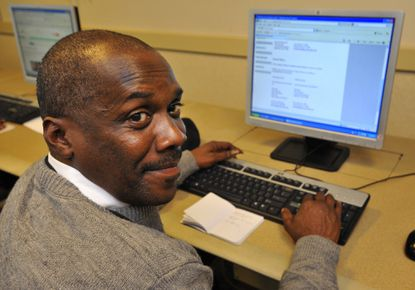 Charles Opher, 46, moved from Cambridge to Baltimore last November and is looking for security jobs. Our Daily Bread Employment Center offers resources such as computers and career counseling to help job seekers achieve self-sufficiency.