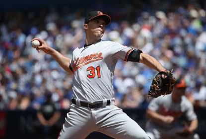 Orioles pitcher Ubaldo Jimenez delivers a pitch in the first inning against the Toronto Blue Jays on June 12, 2016 at Rogers Centre in Toronto, Ontario, Canada.