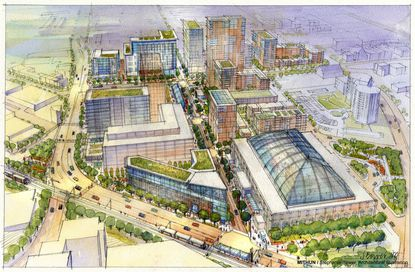 One of the original renderings for the State Center redevelopment project.
