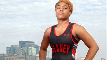 Dulaney High's Destiny Benjamin was selected the Towson Times Female Athlete of the Year after winning eight state titles in wrestling. She will wrestle at Ferrum College next year.