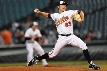 Orioles starting pitcher Tyler Wilson works the first inning against the Chicago White Sox at Camden Yards on April 28, 2016 in Baltimore.