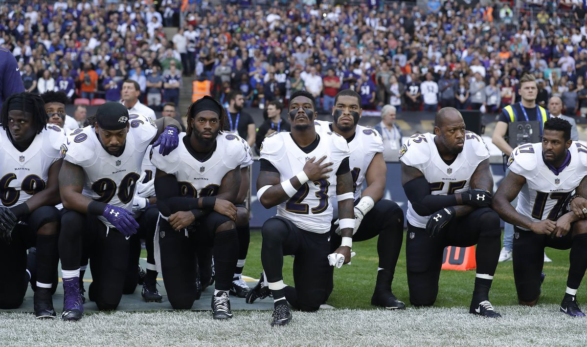 ad45a0f1 Ravens national anthem protest — first in a series in NFL — draws ...
