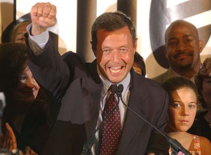 Mayor Martin O'Malley celebrates his Democratic Primary victory with supporters at Montgomery Park Tuesday night.