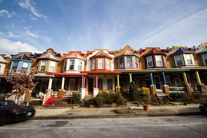 A block of rowhouses in Abell, Baltimore.