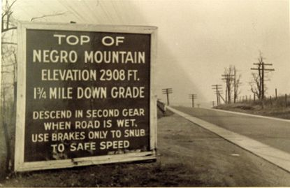 A 1938 photo of the summit of Negro Mountain, highest point on what was then called the National Road. Photo courtesy of Louis Reed