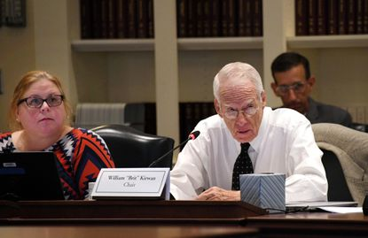 "More than 30 business leaders sent a letter Wednesday to Gov. Larry Hogan and top legislative officials urging support of the Kirwan Commission recommendations to improve public schools. The chairman of the commission, William ""Brit"" Kirwan, is shown conducting a meeting Oct. 15, 2019, in Annapolis."