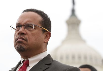 U.S. Rep. Keith Ellison (D-MN) listens during a news conference in front of the Capitol February 1, 2017 on Capitol Hill in Washington, DC.
