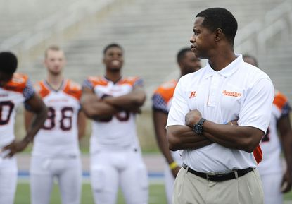 Lee Hull, Morgan State's new football coach, looks around during the team's media day Sunday.