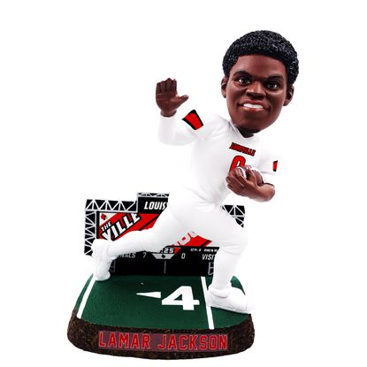 The National Bobblehead Hall of Fame and Museum unveiled an officially licensed, limited edition bobblehead featuring Lamar Jackson in the Heisman Trophy pose in his Louisville Cardinals uniform.