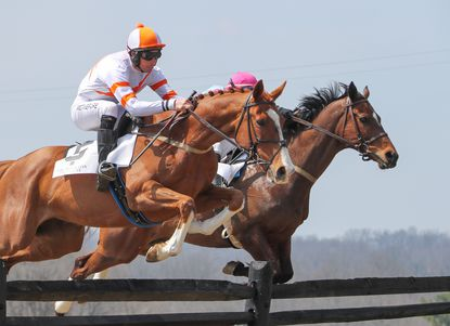 Horses and jockeys, as shown from 2019, will be back in action this weekend at historic Atlanta Hall Farm with the running of the Elkridge-Harford Point-to-Point race.
