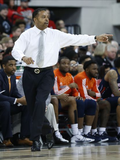 Morgan State head coach Kevin Broadus shouts to his team against Ohio State's during the first half of an NCAA college basketball game Friday, Nov. 29, 2019, in Columbus, Ohio. (AP Photo/Jay LaPrete)