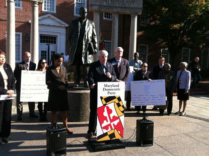 House Speaker Michael E. Busch is joined by fellow Democrats in denouncing the views of Anne Arundel County Council Republican candidate Michael Anthony Peroutka during a press conference at Lawyers Mall in Annapolis.