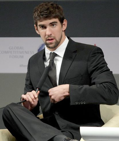 """""""I acted in a youthful and inappropriate way,"""" Michael Phelps, pictured last month in Saudi Arabia, said of the November incident in South Carolina."""