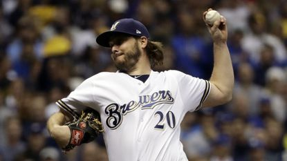 Milwaukee Brewers starter Wade Miley pitches during the first inning of Game 6 of the National League Championship Series against the Los Angeles Dodgers. The Houston Astros have agreed to a one-year, $4.5 million contract with the 32-year-old left-hander.