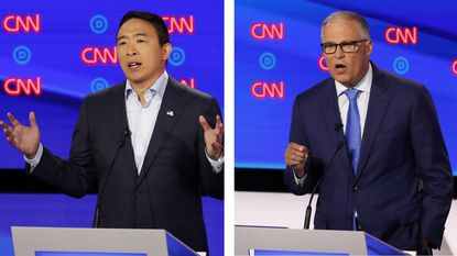 Entrepreneur Andrew Yang (left) and Washington Gov. Jay Inslee bring to the Democratic debates a focus on two existential issues -- automation and climate change.