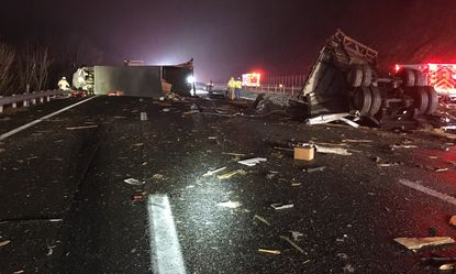 A charter bus collided with a tractor trailer on Interstate 64 about 25 miles west of Charlottesville, Va. in November injuring more than 20 people. Icy conditions contributed to the crash but safety experts warn that vehicles often follow tractor trailers too closely.