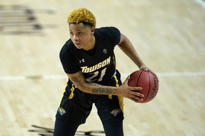 Towson guard Kionna Jeter works the floor against Maryland during a game Dec. 3, 2020, in College Park.