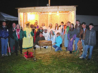The youth group of Hiss United Methodist Church built a new stable and used a bigger Star of Bethlehem in its Dec. 16 presentation of a live Nativity scene. Members of the youth group performed all major roles and ROHA Farms loaned a donkey, a calf and sheep and goats to the presentation.