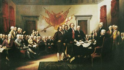"John Trumbull's painting ""Declaration of Independence"" depicts the presentation of a draft of the document to the Second Continental Congress. It hangs in the U.S. Capitol rotunda."