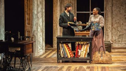 """Drew Kopas as Mr. Marks and Dawn Ursula as Esther in """"Intimate Apparel"""" at Everyman Theatre."""