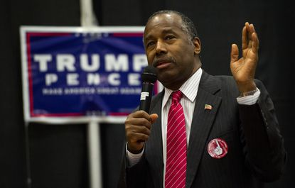 Republican Dr. Ben Carson speaks during a rally for Republican presidential candidate Donald Trump Friday, Nov. 4, 2016, at The Classical Academy in Colorado Springs, Colo. Dr. Carson and Oklahoma Gov. Mary Fallin campaigned for Trump.