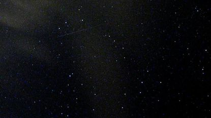 A streak from the Perseid meteor shower can be barely seen in this image, taken at Alpha Ridge Park in Marriottsville, just after 1 a.m. Aug. 13, 2007. The annual meteor shower is expected to peak this year on Saturday and Sunday.