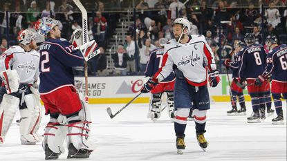 Capitals left wing Alex Ovechkin taps Blue Jackets goaltender Sergei Bobrovsky, who applauds the home crowd after Game 6 of the NHL Stanley Cup Eastern Conference quarterfinals at Nationwide Arena in Columbus, Ohio, on Monday night. Washington won, 6-3, to clinch the series.