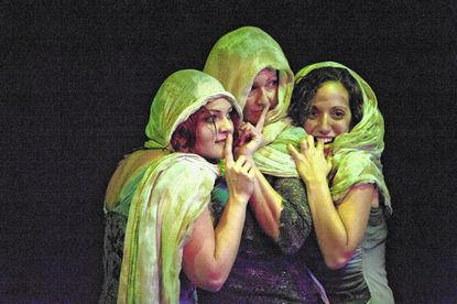 "Renata Plecha, Vanessa Bradchulis and Stephanie LaVardera(as the three weird sisters in Annapolis Shakespeare Company's ""Macbeth"" directed by Sally Boyett."