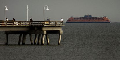 Staten Island ferry, the Andrew J. Barberi, makes it way down the Chesapeake Bay past the Ocean View Fishing Pier after undergoing repairs at Colonna's Shipyard in Norfolk. Might such a vessel address traffic congestion at the Chesapeake Bay Bridge in Maryland?