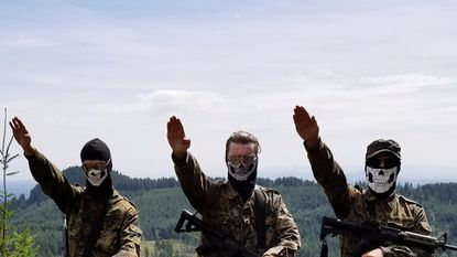 """An Atomwaffen Division propaganda image. In """"Documenting Hate: New American Nazis,"""" Frontline and ProPublica investigate this neo-Nazi group, which has actively recruited inside the U.S. military."""